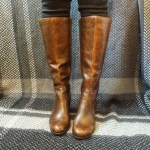 Børn Tall Brown Leather Heeled Boots